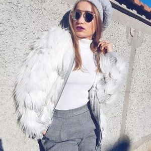 NWT Zara Women's Faux White Fur Jacket Medium
